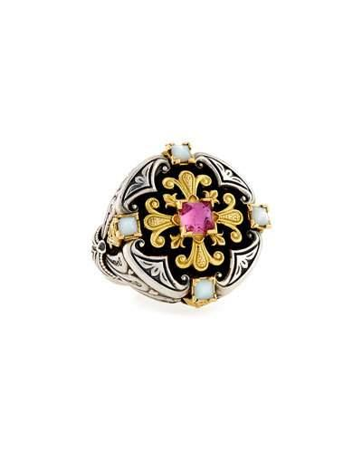 Konstantino Ornate Mother-Of-Pearl Ring With Crystal Quartz Over Pink Sapphire & Tourmaline In White/Pink