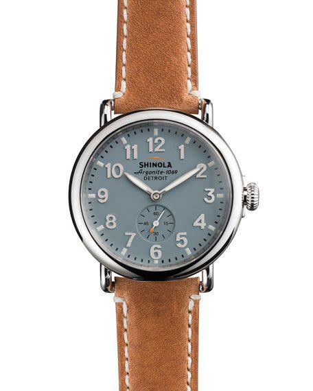 Shinola Men's 41Mm Runwell Men's Watch, Light Blue In Brown/ Pale Grey