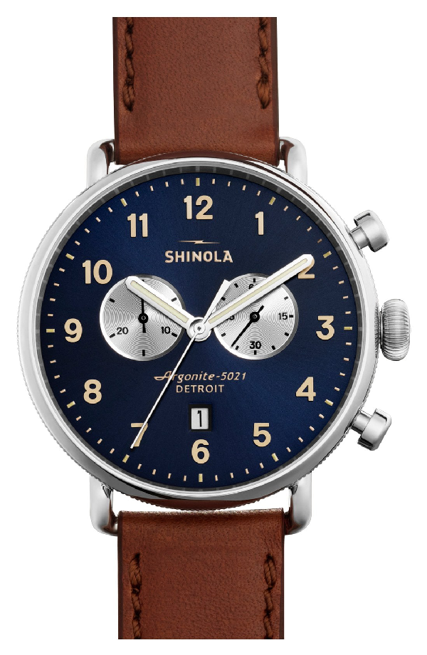 Shinola Canfield Chronograph Sunray Dial Leather Strap Watch In Dark Cognac/ Midnight Blue