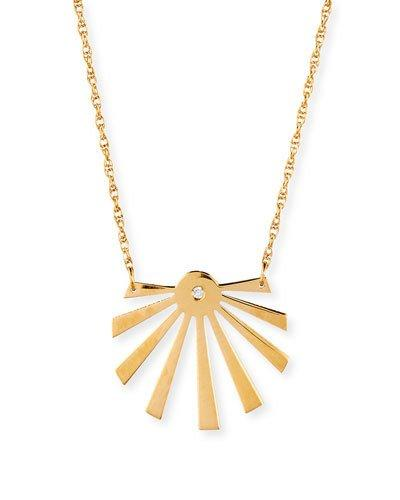 Jennifer Zeuner Cali Sunburst Pendant Necklace In Gold