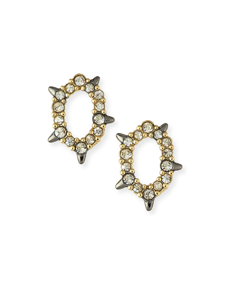 Alexis Bittar Crystal-Encrusted Spiked Earrings In Gold