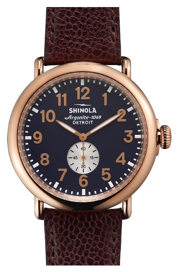 Shinola 41Mm Runwell Men's Textured Leather Watch, Rose Golden/Oxblood In Oxblood/ Midnight Blue