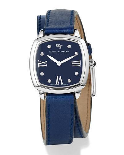 David Yurman Albion 27Mm Leather Swiss Quartz Watch With Diamonds In Blue