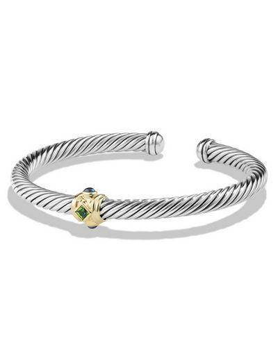 David Yurman Renaissance Bracelet With Chrome Diopside, Hampton Blue Topaz And 14K Gold