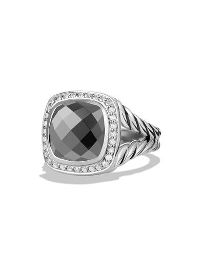 David Yurman Albion Ring With Diamonds In Hematine