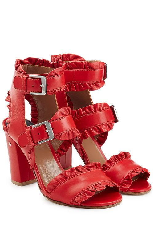 Laurence Dacade Ruffled Leather Sandals In Red