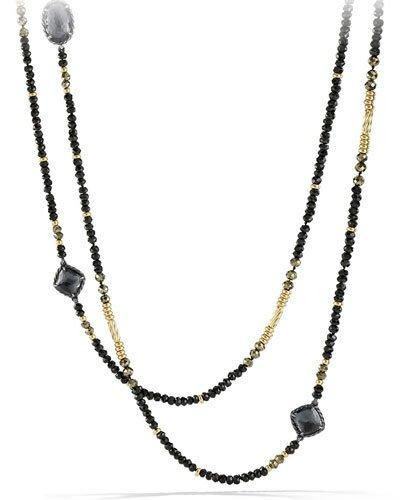 David Yurman Midnight Ice ChÂTelaine Necklace With Hematine, Black Spinel & 18K Gold In Silver