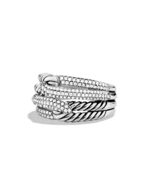 David Yurman Labyrinth Double-Loop Ring With Diamonds In Silver