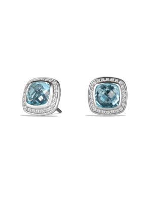 David Yurman Albion Earrings With Blue Topaz And Diamonds