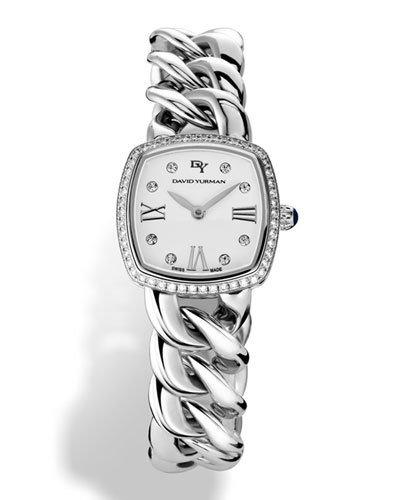 David Yurman Albion Stainless Steel Watch With Diamonds, 27Mm In Silver