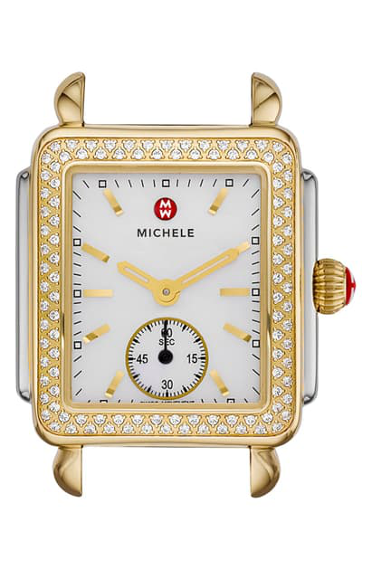 Michele Deco Mid 16 Diamond Two Tone Watch Head, 29 X 31mm In Silver/ Gold