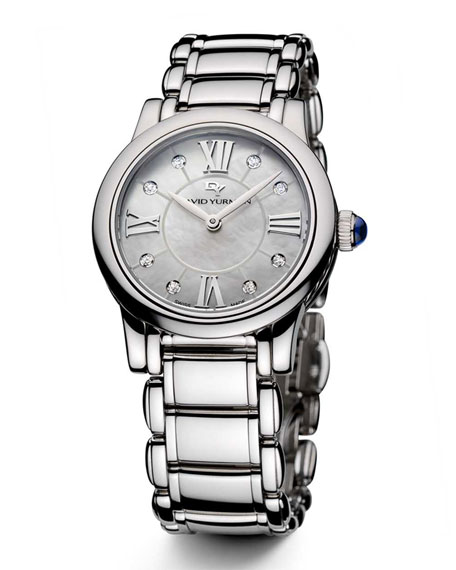 David Yurman Classic 30Mm Stainless Steel Quartz Watch With Diamonds In Silver