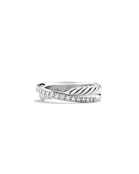 David Yurman Crossover Ring With Diamonds In Pave Diamonds