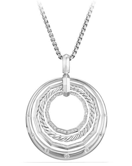 David Yurman Stax Medium Pendant Necklace With Diamonds In Silver