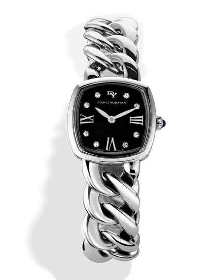 David Yurman Albion 23Mm Stainless Steel Quartz Watch With Diamonds In Silver