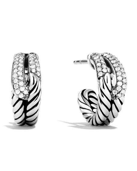 David Yurman Labyrinth Single-Loop Earrings With Diamonds In Silver