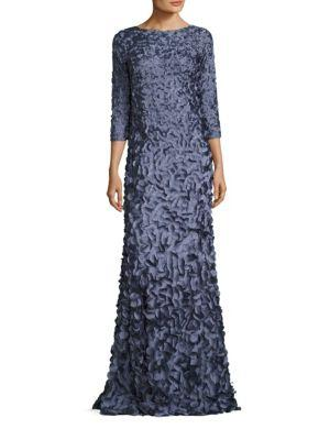 Theia Petal Embellished Gown In Slate