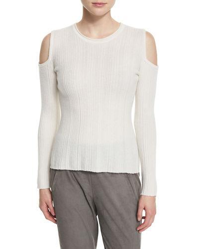 Elie Tahari Marlah Ribbed Cold-shoulder Sweater, Antique