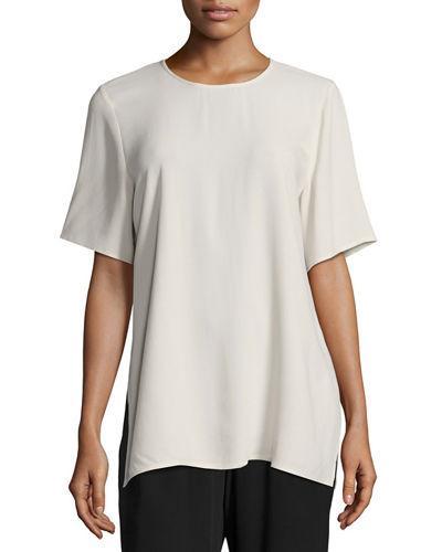 Eileen Fisher Short-Sleeve Silk Box Top In Bone