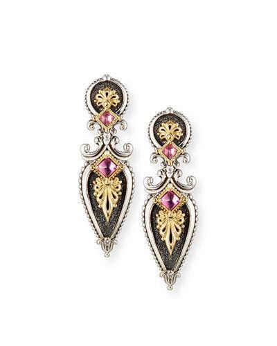 Konstantino Drop Earrings With Pink Tourmaline