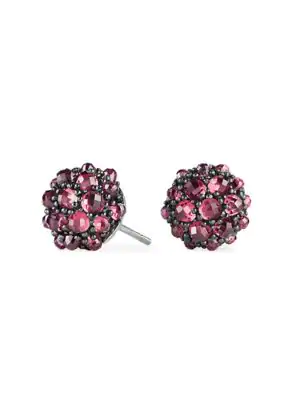 David Yurman Cable Berries Faceted Gemstone & Stainless Sterling Earrings In Rhodalite Garnet