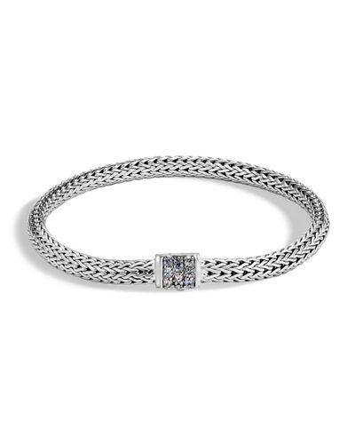 John Hardy Sterling Silver Classic Chain Extra Small Bracelet With Mixed Grey Sapphire In Silver/ Grey Sapphire