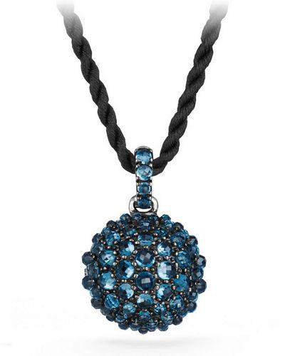 "David Yurman 20Mm Cable Berries Faceted Pendant Necklace, 42"" In Hampton Blue Topaz"
