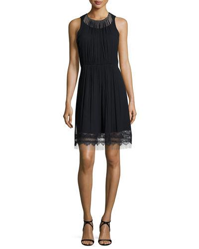 0ea8746927024 Elie Tahari Demetria Sleeveless Chain-Trim Silk Dress In Navy | ModeSens
