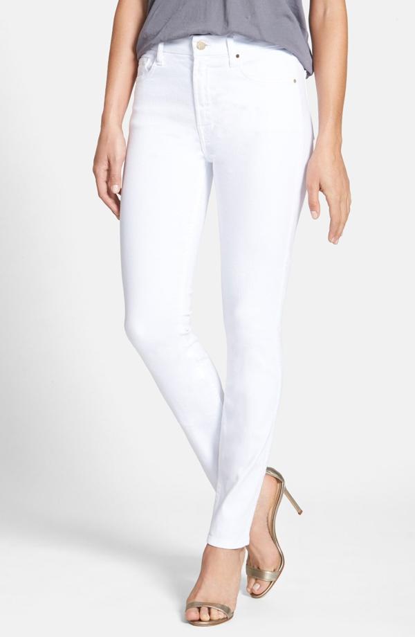 Jen7 Stretch Crop Skinny Jeans In White Denim