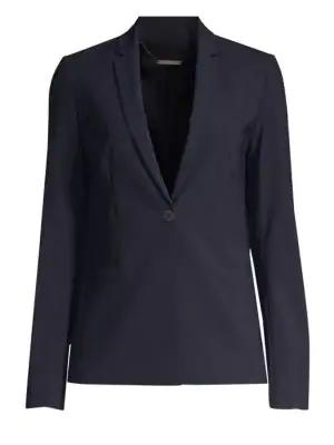 Elie Tahari Maysa Dot-Trim One-Button Blazer Jacket In Blue