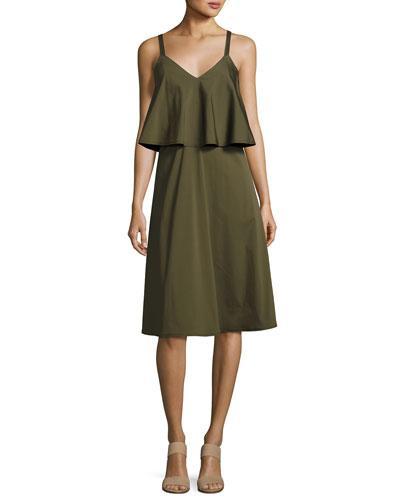 Lafayette 148 Riri Stretch-Cotton Popover Dress, Dill