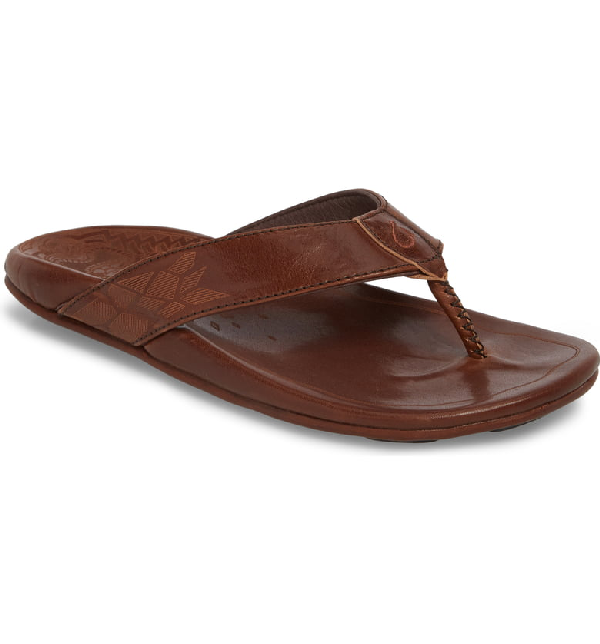 Olukai Waimea Leather Thong Sandals In Dark Wood/ Dark Wood Leather