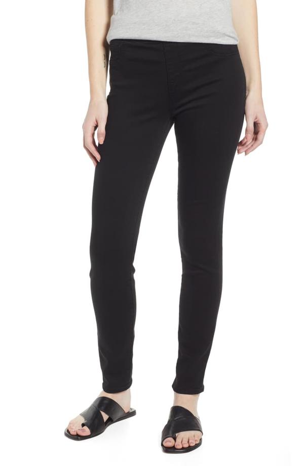 Jen7 Comfort Skinny Denim Leggings In Classic Black Noir