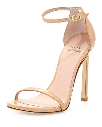 Stuart Weitzman Nudist Leather Ankle-Strap Sandal, Adobe