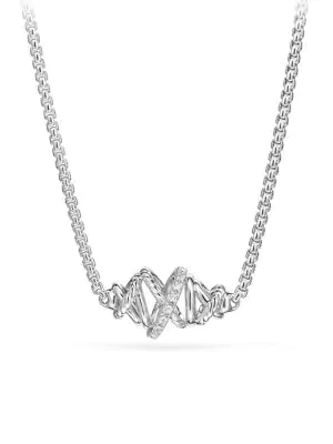 David Yurman Crossover Single Station Necklace With Diamonds In Silver