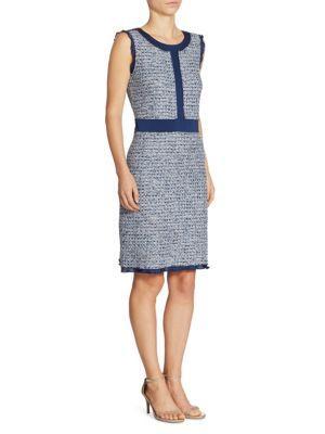 St. John Kiara Tweed A-Line Dress In Blue Multi