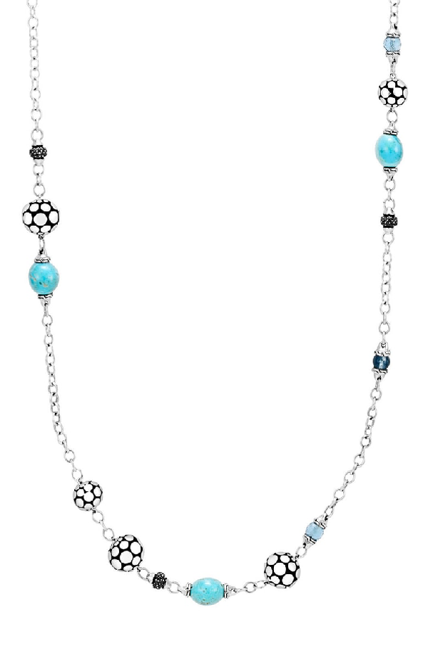 John Hardy Sterling Silver Dot Sautoir Necklace With Turquoise, Swiss Blue Topaz And Black Sapphire, 36 In Silver/ Turquoise