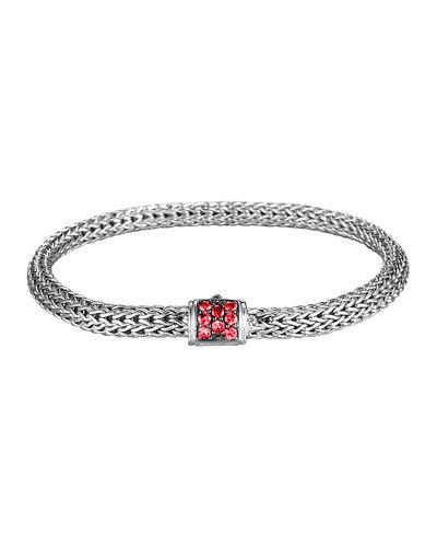 John Hardy Classic Chain Sterling Silver Lava Small Bracelet With Red Sapphire In Silver/ Garnet