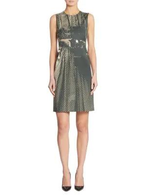 Akris Vivian Camera-Print A-Line Dress, Black In Black Shor