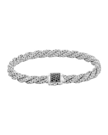 John Hardy Classic Chain Sterling Silver Lava Extra Small Flat Twisted Chain Bracelet With Black Sapphire In Silver/ Black Sapphire