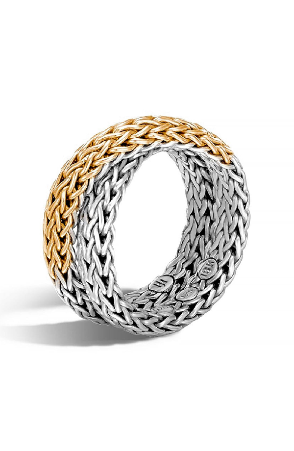 John Hardy Classic Chain 18K Yellow Gold & Sterling Silver Ring In Silver/ Gold