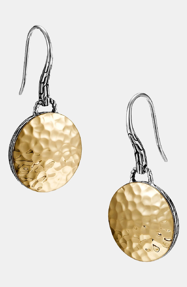 2a98195c4 John Hardy Palu 18K Yellow Gold & Sterling Silver Hammered Disc Drop  Earrings In Gold/