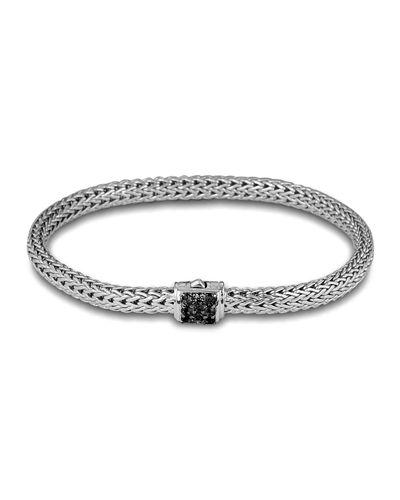 John Hardy Classic Chain Sterling Silver Lava Extra Small Bracelet With Black Sapphire In Silver/ Black Sapphire