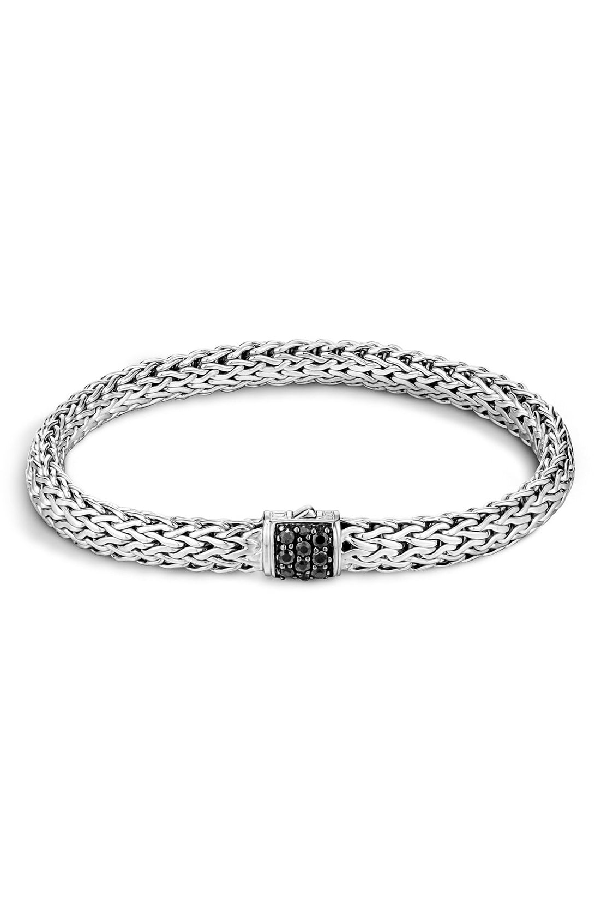 John Hardy Classic Chain Sterling Silver Lava Small Bracelet With Black Sapphire In Silver/ Black Sapphire