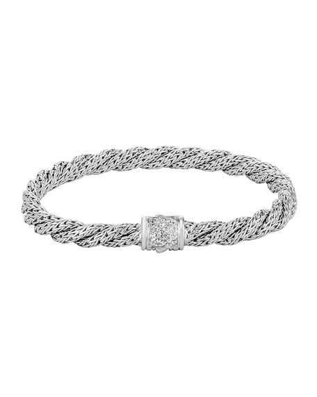 John Hardy Classic Chain Sterling Silver Extra Small Flat Twisted Chain Bracelet With Diamond Pave In Silver/ Diamond