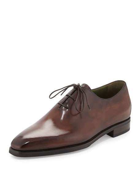 Berluti Alessandro Demesure Leather Oxford, Leather Sole, Brown In Burgundy