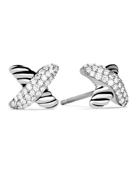 David Yurman X Earrings With Diamonds In Pave Diamonds