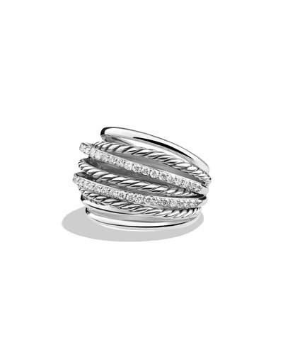 David Yurman Crossover Dome Ring With Diamonds In Na