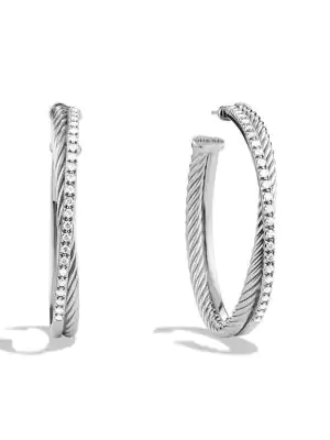 David Yurman Crossover Extra-large Hoop Earrings With Diamonds In Silver