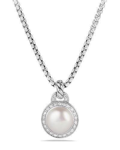 David Yurman Petite Cerise Pearl Pendant Necklace W/Pave Diamonds In Pearl & Diamonds